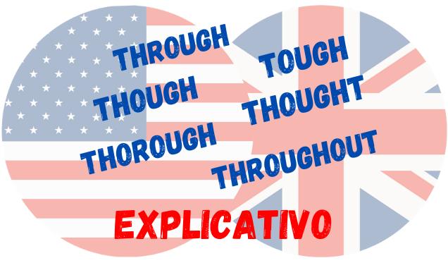 inglês through though tough thought thorough throughout